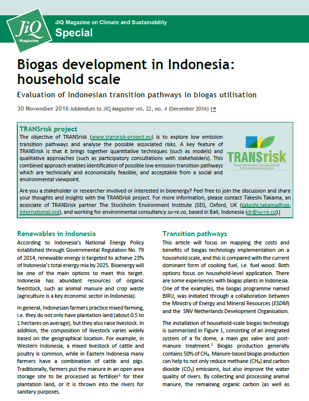 Front page JIQ Special biogas indonesia
